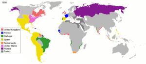 Mapa-mundi do colonialismo em 1800