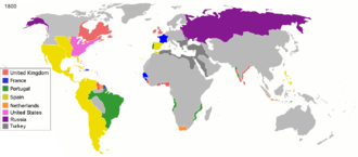European colonialism - Colonial empires in the world in 1800