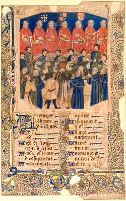A full color, illustrated manuscript of the Court in session. Up at the top are the seven Justices of the court, dressed in orange robes. Underneath the Justices are the clerks of the court, dressed in robes that are half green and half blue. Underneath the clerks are the pleaders, who are dressed in blue and gold outfits. The bottom half of the image is taken up by text written in an Old English script.