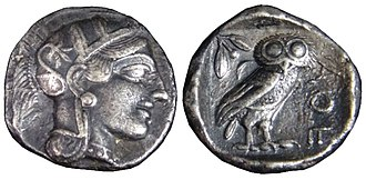 Tetradrachm - An Athenian tetradrachm from after 499 BC, showing the head of Athena and the owl