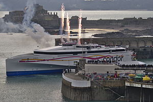Condor Liberation arriving at Saint Helier Harbour in Jersey, Channel Islands.