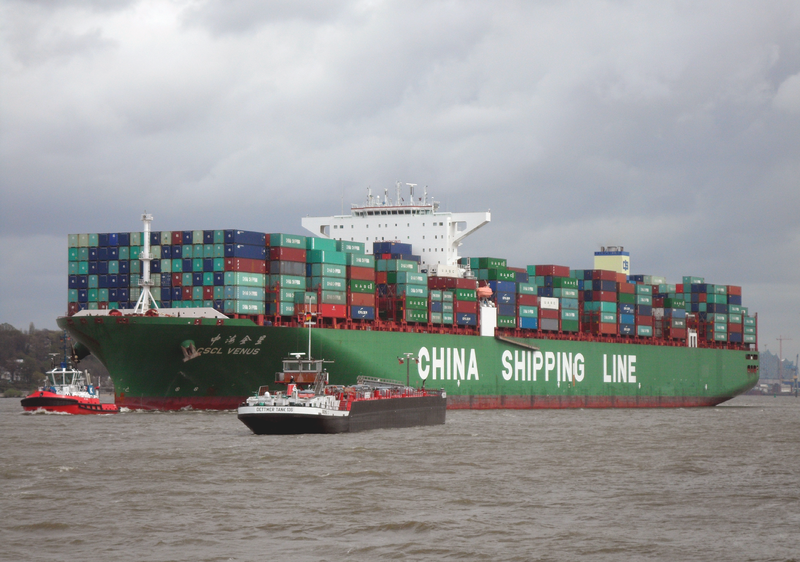 File:Container ship CSCL Venus of the China Shipping Line outgoing Hamburg in April 2014.png