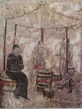 Cooking, mural from Tomb in Aohan, Liao Dynasty