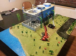 Diorama - Cooling tower construction diorama