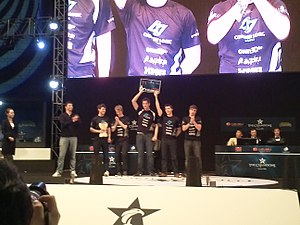 """Counter Logic Gaming - Counter Logic Gaming Europe at the Finals of the 2012 OGN Summer Championship. From left: Peter """"Yellowpete"""" Wüppen, Henrik """"Froggen"""" Hansen, Mike """"Wickd"""" Petersen, Stephen """"Snoopeh"""" Ellis and Mitch """"Krepo"""" Voorspoels."""