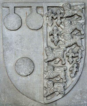 Thomas de Courtenay, 5th/13th Earl of Devon - Image: Courtenay Impaling Royal Arms Colyton Devon