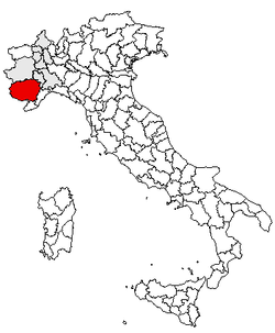 Location of Province of Cuneo