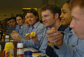 Dale Earnhardt Jr eats lunch at Recruit Training Command Great Lakes 2006.jpg