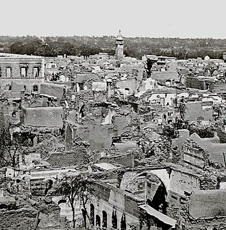 Photograph of the Christian quarter of Damascus after its destruction in 1860 DamasChristianQuarter1860.jpg
