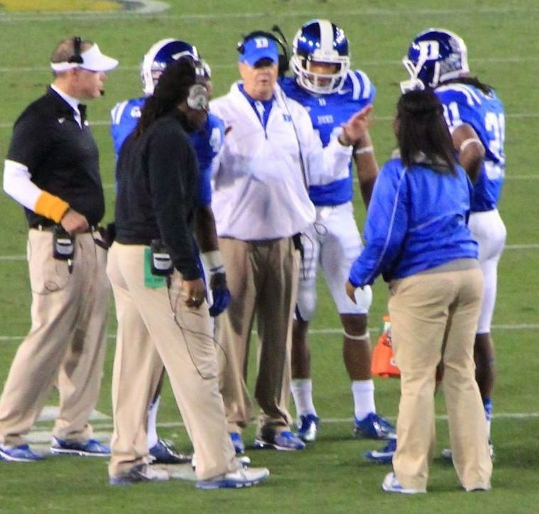 David Cutcliffe meeting with players, 2012
