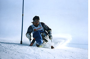 Australia at the 1994 Winter Paralympics - Michael Norton Competing in the Men's slalom LW2 at the 1994 Winter Paralympics.