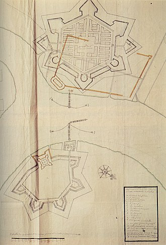 Fortifications of Bangkok - Construction plan for the 1685 bastion forts, by French engineer de Lamare. Existing city walls are shown in red; only the eastern fort (bottom) was built.