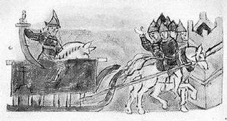 Yaropolk Izyaslavich - Miniature from the Radzivil Chronicle allegedly depicting the death of Yaropolk.