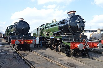 "GWR 4073 Class - Preserved locos 5080 ""Defiant"" and 5043 ""Earl of Mount Edgcumbe"" on display at Tyseley Locomotive Works"