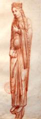 la reine de Saba, abbatiale de Saint-Denis, portail central de la façade occidentale, deuxième statue-colonne de l'ébrasement droit depuis l'intérieur