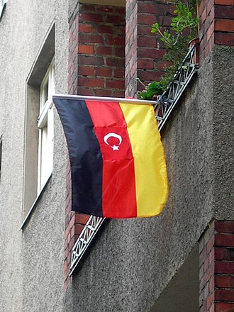 Turks in Germany - A popular flag used by German-Turks which incorporates the Turkish and German flags.