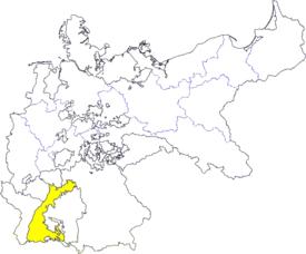 Lage des Großherzogtums Baden im Deutschen Kaiserreich