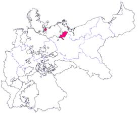 Lage des Großherzogtums Mecklenburg-Schwerin im Deutschen Kaiserreich