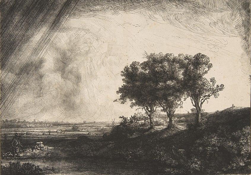 Die landschaft mit den drei baeumen
