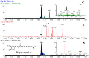 Dihydrocapsaicin - MS/MS spectra of standard dihydrocapsaicin (A) and from sample extract (B). Sample B confirms the compound was found in prehispanic pottery from Mexico. See here for details doi:10.1371/journal.pone.0079013.g005