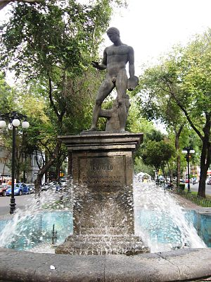 Discophoros - Discophorus fountain, on Calle Obregon in Colonia Roma in Mexico City