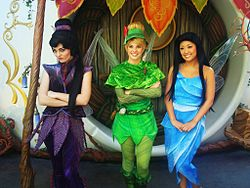 Vidia, Tinker Bell, and Silvermist at Disneyland's Pixie Hollow.