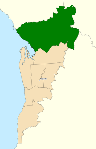 Division of Spence - Location of Spence (dark green) in Greater Adelaide, South Australia