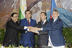 Asif Ali Zardari - Zardari with Emomali Rahmon, Dmitry Medvedev and Hamid Karzai