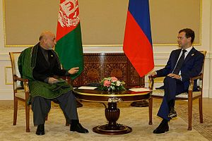 Foreign relations of Afghanistan - Hamid Karzai sitting with Russia's President Dmitry Medvedev