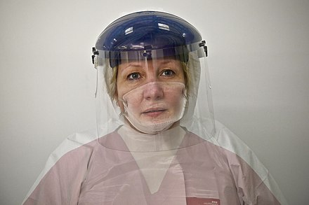 British woman wearing protective gear Donna Wood, Nurse and NHS Ebola volunteer (15652582937).jpg