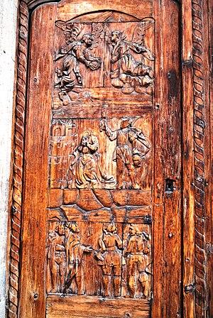 José Luis Cuevas Museum - A church door relief, depicting a decapitated St. James.