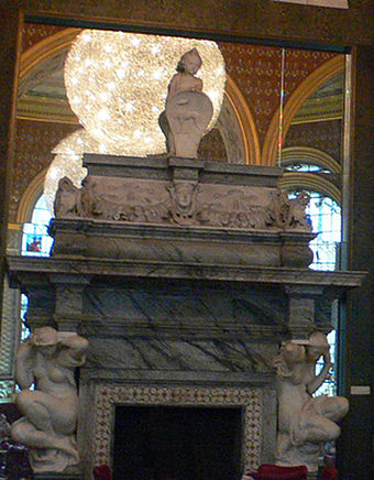 Dorchester House fireplace, by Alfred Stevens, the Centre Refreshment Room Dorchester fireplace Victoria and Albert Museum.jpg