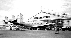 Douglas DC-4E - The giant new DC-4E at the United Air Lines base at Oakland Airport