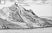 Old drawing of the Drachenfels.