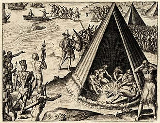 New Albion - Drake's Landing in New Albion, 1579, engraving published by Theodor De Bry, 1590