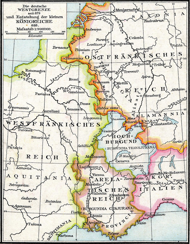 Verdeling in het Verdrag van Ribemont (bron: Wikipedia).