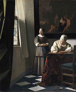 Servante Écrivant Lettre Et Femme Une Sa R8qwX