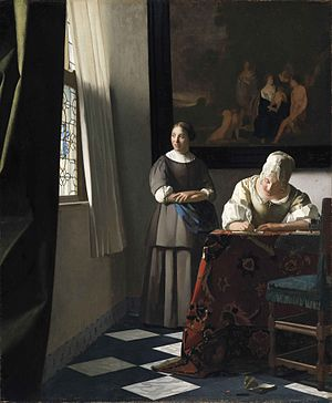 Writing to Vermeer - Lady Writing a Letter with her Maid, one of several paintings by Vermeer which inspired the opera's libretto