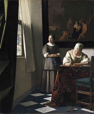 National Gallery of Ireland - Johannes Vermeer Lady Writing a Letter with her Maid c.1670