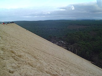 Dune of Pilat - Visitors enjoying the scenery of the Landes from the eastern side and on the crest