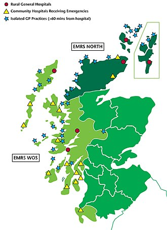 Emergency Medical Retrieval Service - Map of areas covered by the EMRS, showing some medical facilities served