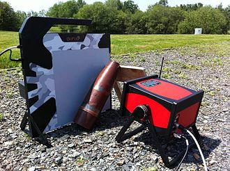 Digital radiography - EOD (Explosive Ordnance Disposal) training and material testing. A 105 mm shell is radiographied with battery powered portable X-ray generator and flat panel detector.
