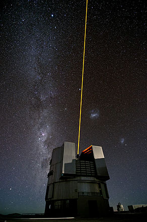 ESO's Very Large Telescope during the testing of a new laser for the VLT 14 February 2013.jpg