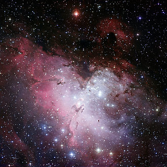 Eagle Nebula - Three-colour composite mosaic image of the Eagle Nebula, with north at top. Credit: ESO