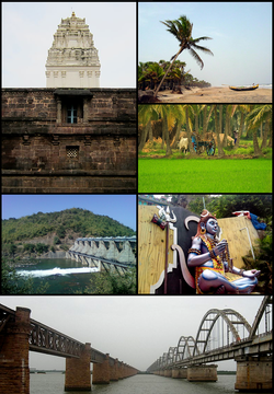 Clockwise from Top Left: Samalkot Kumara Bhimeswara Temple, Antarvedi Beach, Konaseema Paddy Fields, Lord Shiva statue at Talapulamma Lova, Rail Bridges on River Godavari at Rajahmundry, Yeleshwaram Dam
