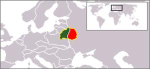 Eastern Belorussia - East Belarus shown in red