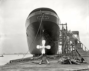 Slipway - Lake freighter Shenango in a parallel slipway in 1909.