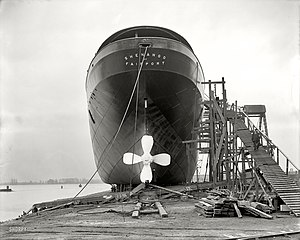 Slipway - Lake freighter Shenango in a parallel slipway in 1909.