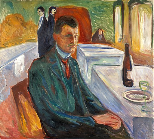 Edvard Munch - Self-Portrait with a Bottle of Wine - Google Art Project