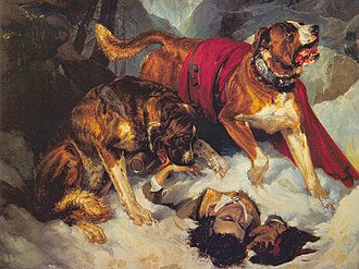 Edwin Landseer - Alpine Mastiffs Reanimating a Distressed Traveler (1820)